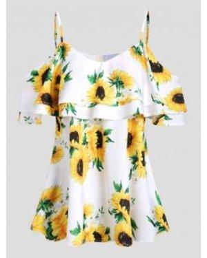 Sunflower Cold Shoulder Flounce Blouse