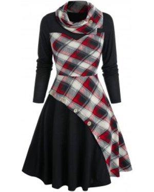 Plaid Print Mock Button Twofer Dress