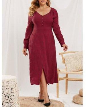 Plus Size Slit Mock Button V Neck Dress