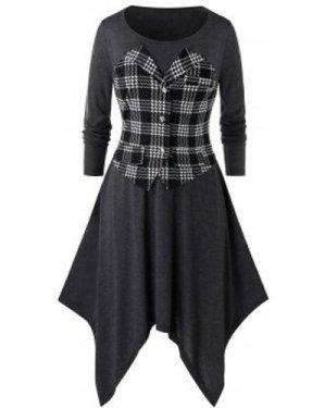 Plus Size Plaid Asymmetrical Long Sleeve Handkerchief Dress