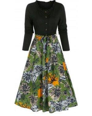 Flower Print Belted Twofer Dress