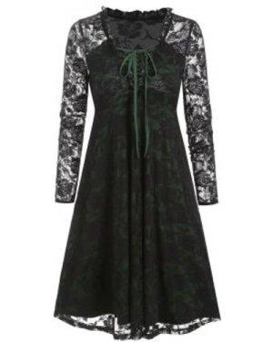 Plunge Neck Lace-up Ruffle Flower Lace Dress