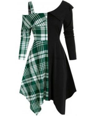 Open Shoulder Contrast Plaid Insert High Waist Asymmetrical Dress