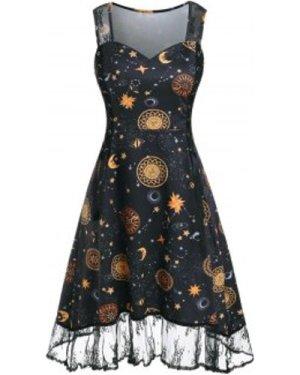 Sun Moon Star Print Lace Insert Lace-up Dress