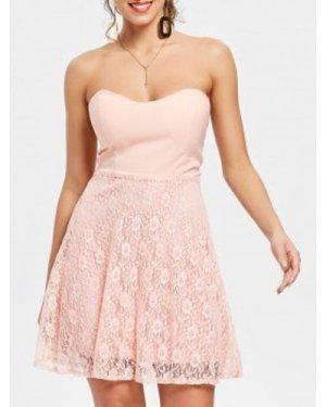 Sexy Strapless Sleeveless Flower Pattern Lace Women's Dress