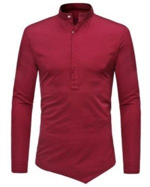 Half Button Asymmetrical Plain Shirt