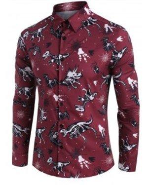 Halloween Dinosaur Bat Skeleton Print Button Up Shirt