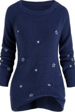 Plus Size Star Embroidered Raglan Sleeve Sweater