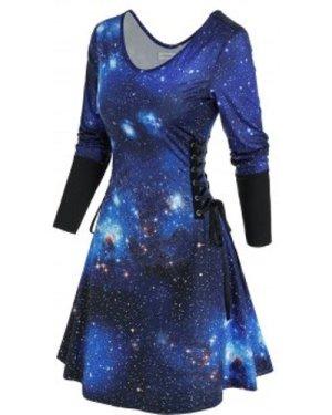 Lace Up 3D Galaxy Print Mini Dress