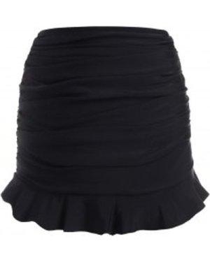 Ruffled Hem Ruched Solid Swim Skirt