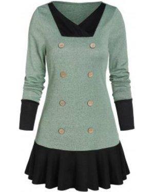 V Neck Skirted Pullover Sweater