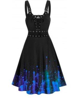 Splatter Paint Grommet Lace Up Cami Dress