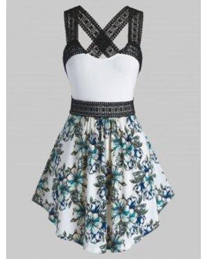 Plus Size Floral Print Crisscross Lace Insert Tank Top