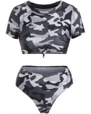 Camouflage Knotted Cropped High Waisted Bikini Swimwear