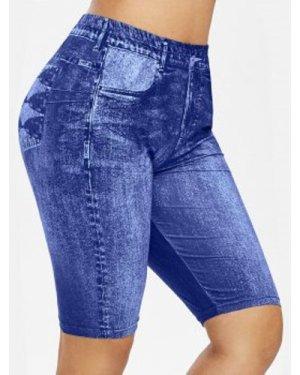 Plus Size High Rise 3D Jean Print Mini Leggings