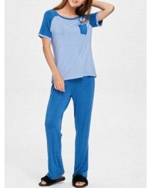Baseball Tee with Drawstring Pants Pajamas Set