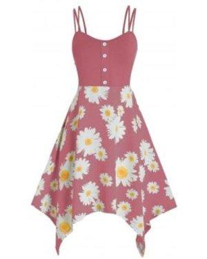 Plus Size Daisy Flower Handkerchief Dual Strap Dress