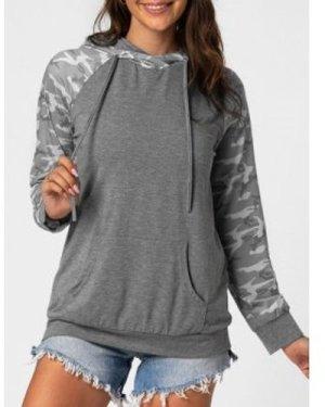 Camo Front Pocket Raglan Sleeve Hoodie