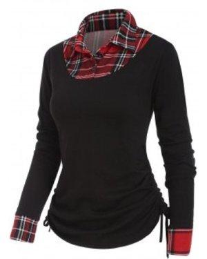 Plaid Insert Button Placket Shirt Collar T-shirt