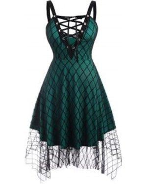Lace Up Plaid Mesh Plus Size Dress