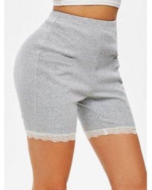 Double Pockets Lace Trim Mini Shorts