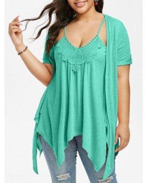 Plus Size Faux Twinset Handkerchief T Shirt