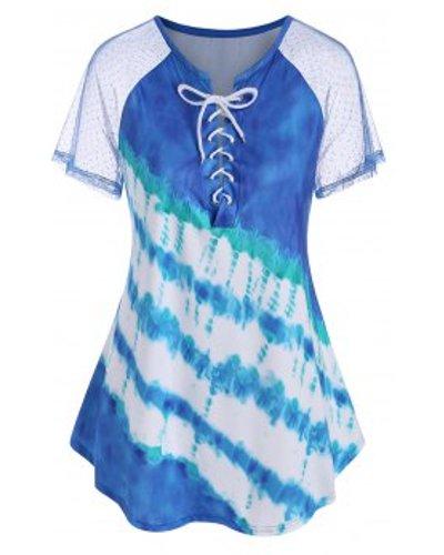 Plus Size Tie Dye Lace Up T Shirt