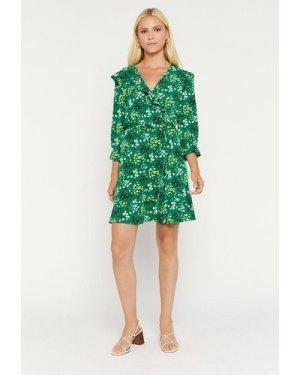 Womens Floral Ruffle Wrap Dress - green, Green