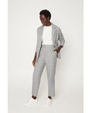 Womens Check Suit Blazer - black, Black