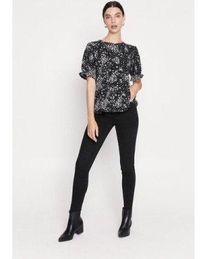 Womens Printed Tiered Hem Top - black, Black