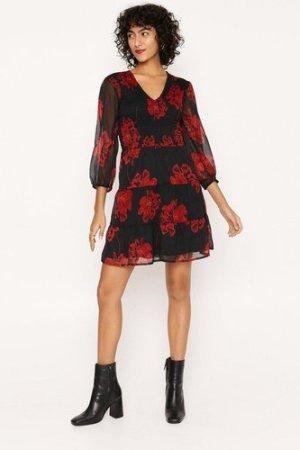 Womens Red Floral Shirred Skater Dress - black, Black