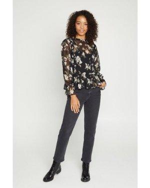 Womens Floral Frill Hem Blouse - black, Black