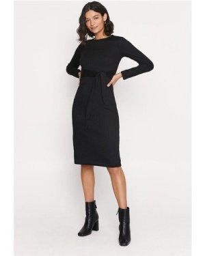Womens Rib Tie Front Midi Dress - black, Black