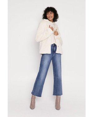 Womens Short Straight Faux Fur Coat - cream, Cream