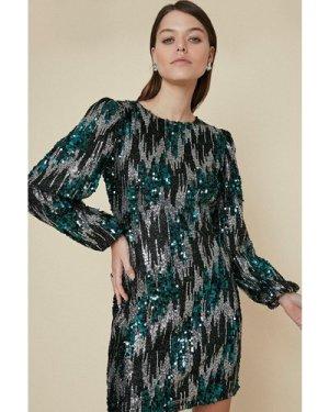 Womens Zig Zag Sequin Mini Dress - black, Black
