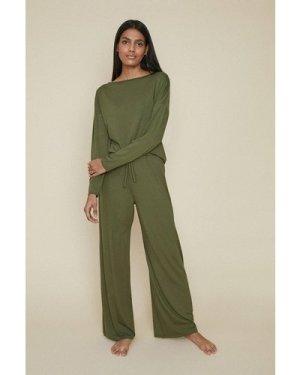 Womens Batwing Loungewear Top - khaki, Khaki
