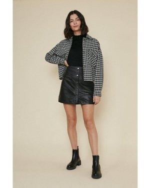 Womens Button Detail Leather Skirt - black, Black