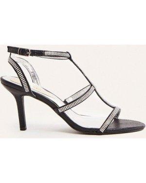 Womens Hotfix Strappy Open Toe Heel - black, Black