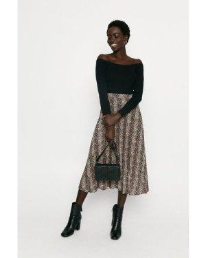 Womens Long Sleeve Knitted Rib Bardot Top - black, Black