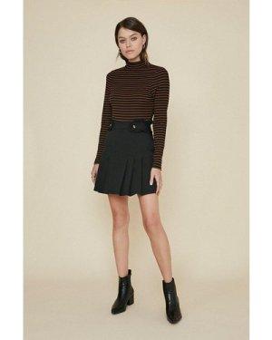 Womens Frill Tab Mini Skirt - black, Black