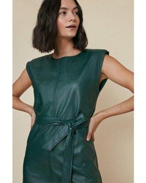 Womens PU Padded Shoulder Dress - green, Green