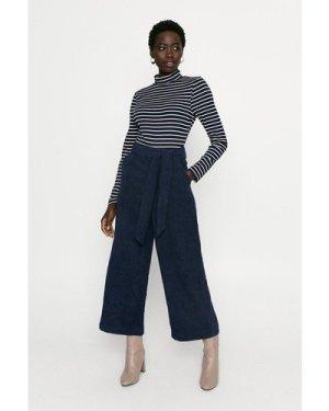 Womens Stripe Roll Neck Bodysuit - navy, Navy