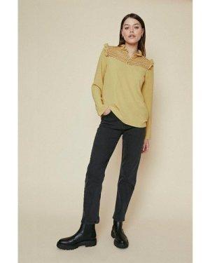 Womens Ruffle High Neck Long Sleeve Top - mustard, Mustard
