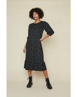 Womens Textured Floral Printed Midi Dress - black, Black