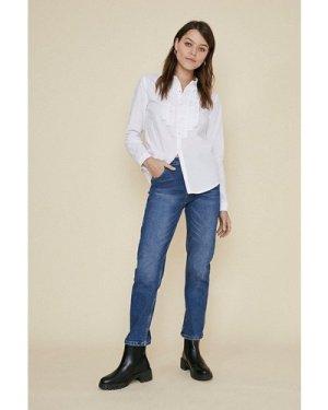 Womens Ruffle Front Shirt - white, White