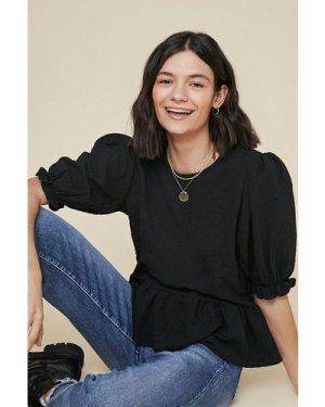 Womens Textured puff sleeve top - black, Black