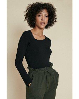 Womens Cut Out Long Sleeve Top - black, Black