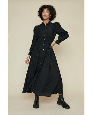 Womens Shirred Button Shirt Dress - black, Black