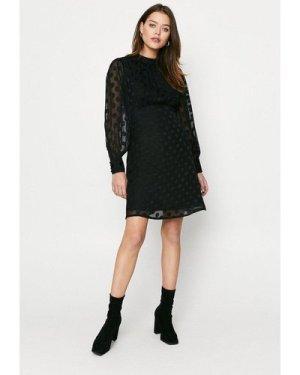 Womens Dobby Spot Skater Dress - black, Black
