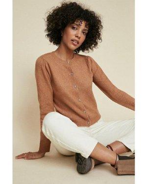 Womens Pretty Button Cardigan - camel, Camel